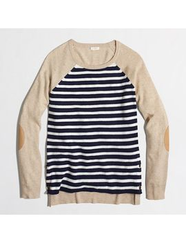 factory-side-button-elbow-patch-sweater-in-stripe by jcrew