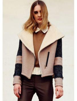 khaki-contrast-beige-lapel-long-sleeve-crop-coat by sheinside