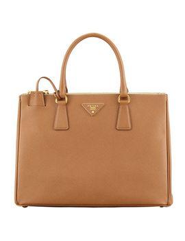 saffiano-double-zip-executive-tote-bag,-brown-(caramel) by prada