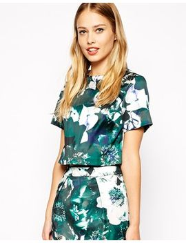 warehouse-enlarged-floral-bonded-crop-top by warehouse