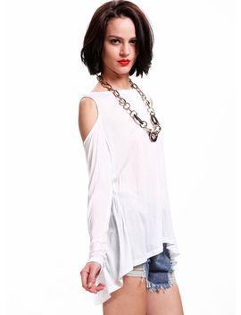 white-long-sleeve-cutout-shoulder-wrap-back-t-shirt by sheinside