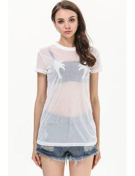 white-short-sleeve-flocked-sheer-t-shirt by sheinside