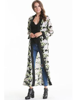 black-and-green-long-sleeve-florals-print-maxi-kimonos by sheinside