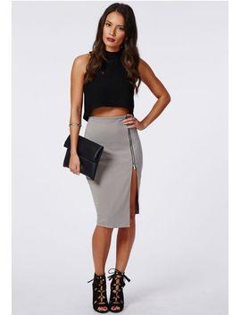 alyx-zip-side-split-midi-skirt-grey by missguided