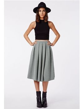 auberta-pleated-midi-skirt-grey by missguided
