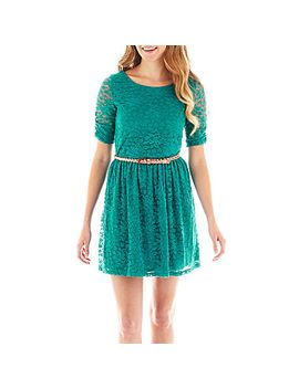 by&by-3_4-sleeve-belted-lace-dress by general