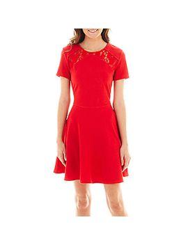 olsenboye®-short-sleeve-lace-inset-fit-and-flare-dress by olsenboye