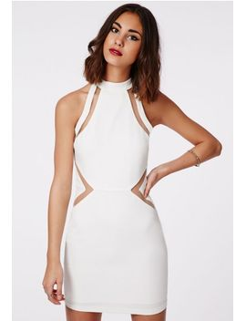 cori-mesh-racer-high-neck-bodycon-dress-white by missguided