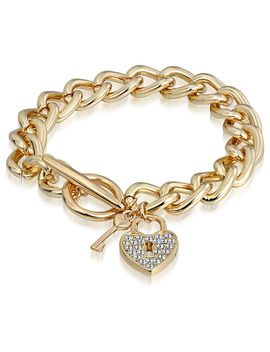 mestigé-heart-fob-bracelet-with-swarovski®-crystals---gold by target