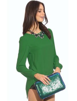 green-long-sleeve-zip-split-back-blouse by sheinside