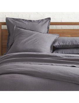 lino-dark-grey-linen-full_queen-duvet-cover by crate&barrel