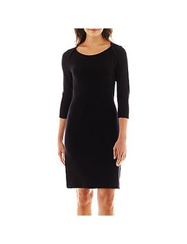 liz-claiborne-3_4-sleeve-sweater-dress by liz-claiborne-3_4-sleeve-sweater-dress