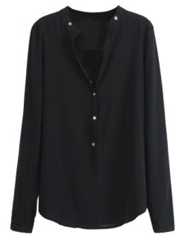 black-v-neck-chiffon-shirt-with-button-details by choies