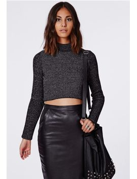 antonina-dark-grey-knit-funnel-neck-cropped-sweater by missguided
