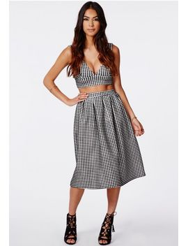 helena-gingham-full-midi-skirt-black by missguided