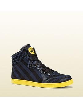 striped-calf-hair-high-top-sneaker by gucci