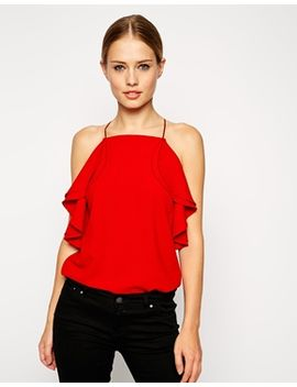 asos-high-neck-cami-with-ruffle-detail by asos-collection