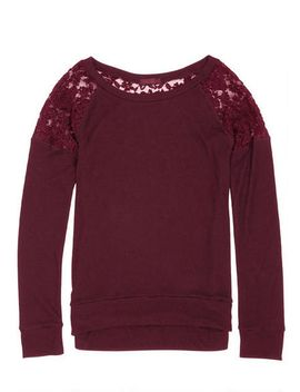 super-soft-lace-inset-long-sleeve-top by delias