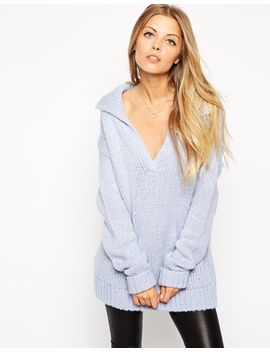 asos-oversized-sweater-with-collared-neck-detail by asos-collection