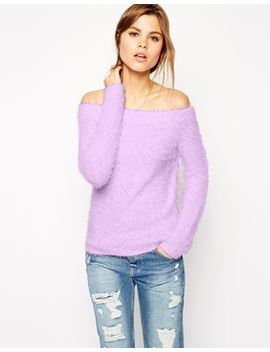 asos-off-shoulder-sweater-in-fluffy-knit by asos-collection