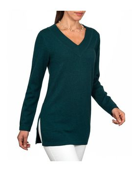 wool-overs-womens-cashmere-&-merino-v-neck-tunic-sweater-bottle-green-large by wool-overs