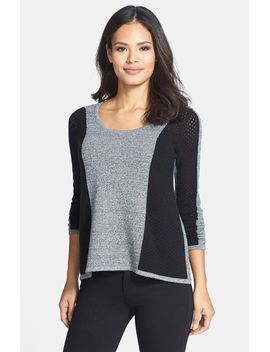 colorblock-pointelle-cashmere-sweater by quinn