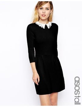 asos-tall-knitted-skater-dress-with-lace-collar by asos-tall
