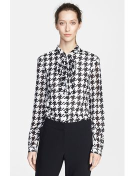houndstooth-print-silk-blouse by st-john-collection