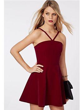 macen-velvet-strappy-skater-dress-red by missguided