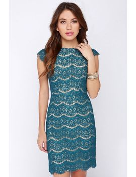 darling-candice-teal-blue-lace-dress by lulus