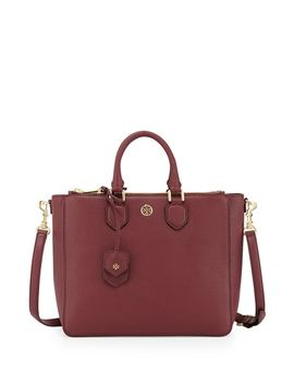 robinson-pebbled-square-tote-bag,-deep-berry by tory-burch