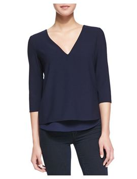 susan-v-cutout-zip-detail-blouse,-navy by cooper-&-ella