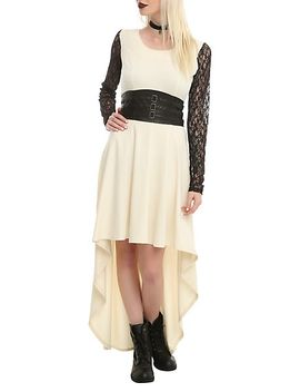 royal-bones-by-tripp-cream-black-lace-sleeve-salem-dress by hot-topic