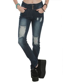 machine-blue-deconstructed-high-waisted-skinny-jeans by hot-topic