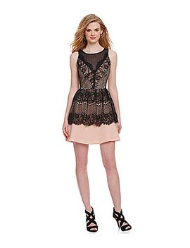 adelyn-rae-chiffon-&-lace-peplum-fit-and-flare-dress by generic