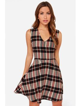 chickity-checker-yo-self-black-and-tan-skater-dress by lulus
