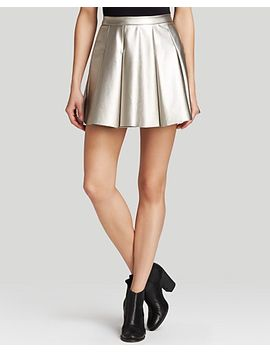skirt---metallic-pleated-faux-leather by aqua