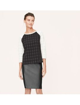 faux-leather-and-ponte-blocked-pencil-skirt by loft