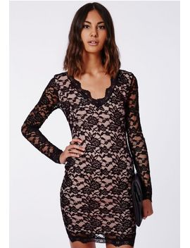cherry-lace-long-sleeve-plunge-neck-bodycon-dress-black by missguided