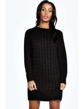 avah-soft-laguna-cable-knit-jumper-dress by boohoo