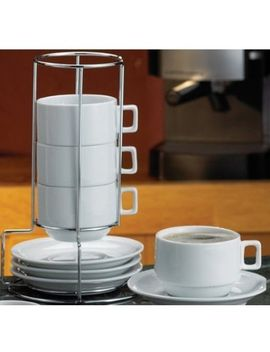 hic-9-piece-stackable-cappuccino-coffee-tea-set,-fine-white-porcelain,-set-includes-4-(7-ounce)-cups-with-matching-saucers-and-metal-stand,-gift-boxed by hic-harold-import-co