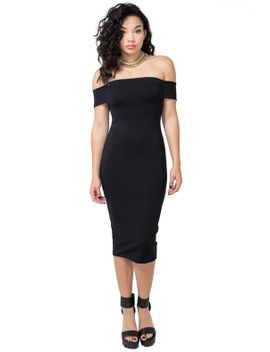 structured-off-shoulder-midi by agaci