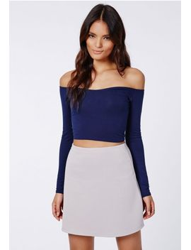 carrisa-long-sleeve-jersey-bardot-crop-top-navy by missguided