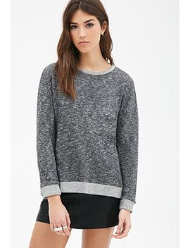 marled-contrast-trimmed-sweatshirt by forever-21