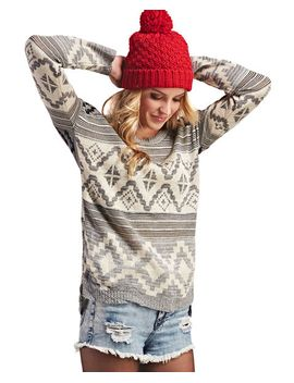 high-low-tribal-print-sweater by wet-seal