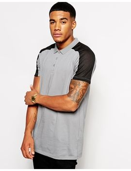 asos-longline-polo-shirt-with-mesh-panels by asos