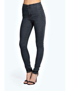 lara-super-skinny-black-ice-tube-jeans by boohoo