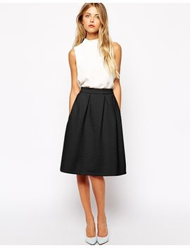 vila-quilted-a-line-midi-skirt by vila