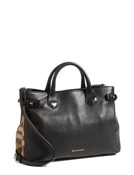 medium-banner-house-check-leather-tote by burberry