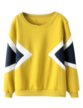yellow-arrow-colour-block-sweatshirt by choies